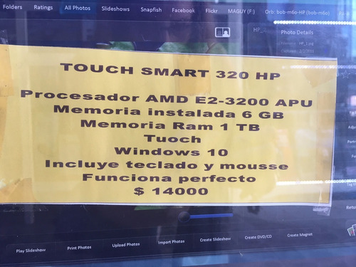 hp pc, all in one, hp 320 touchsmart, impecable
