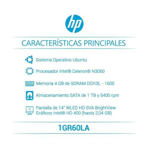 hp portatil 14-bs006la  intel® celeron 4 gb sata 1tb 1gr60la