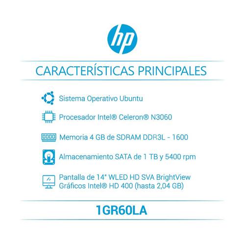hp portatil 14-bs006la  intel® celeron 4 gb sata 1tb 1gr60la