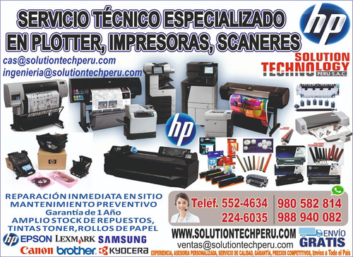 hp servicio reparo plotter impresora escaner lima callao sos
