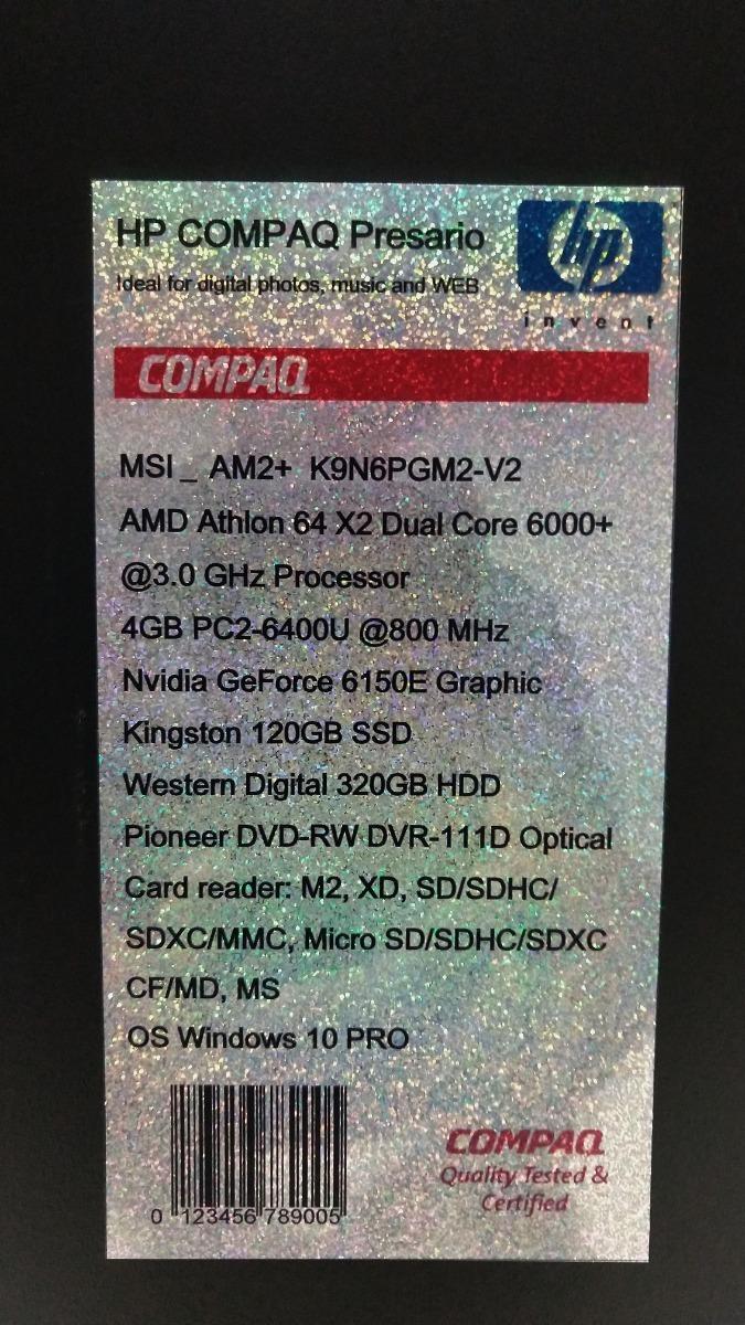 Hp Compaq Presario K9n6pgm2 Amd Athlon 64 X2 Dual Core 6000 Bs 89 000 000 00 En Mercado Libre