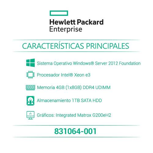 hpe servidor proliant ml30 gen9 831064-001 + lic w server