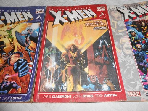 hq edição histórica x-men, 3 volumes grandes sagas.