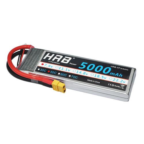 hrb 2s 7.4v 5000mah 50c 100c rc lipo batería para el coche