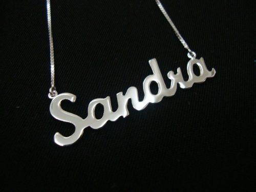 hs pedras - colar de prata, com nome personalizado cód153c40