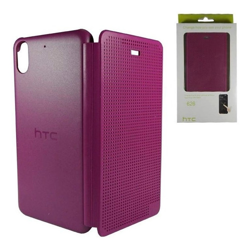 htc desire 626 626s funda flip dot view morado original