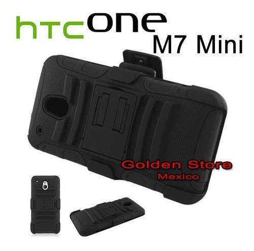 htc one mini m4 funda con clip para cinturon 3 capas otter