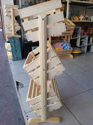 huacal organizador 3 niveles de decoración en madera