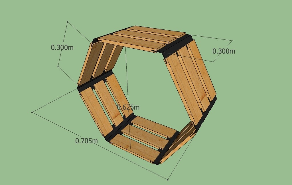 Huacalli hexagonal precio por hex gono de madera for Precio zapateros de madera