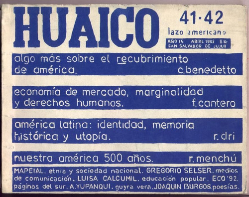 huaico. lazo americano.  nº 41 - 42 abril 1993. jujuy - arg.
