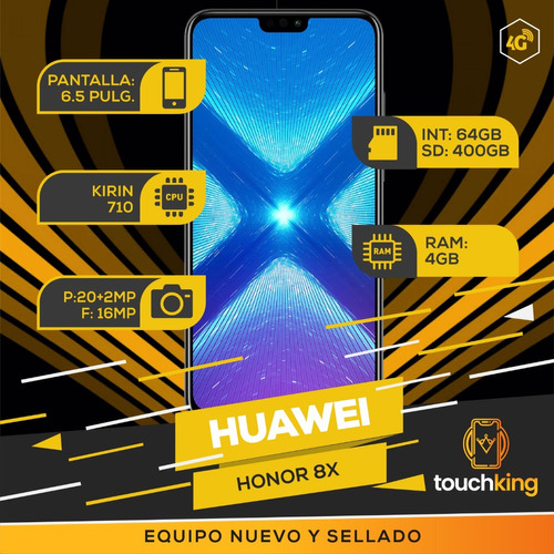 huawei honor 8x 4gb ram 64gb libre de fabrica sellado- negro