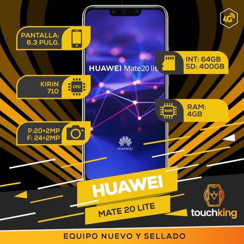 huawei mate 20 lite 64gb 4gb ram libre d fabrica nuevo- azul