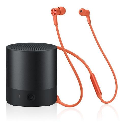 huawei mini speaker - negro + audífonos freelace - naranja