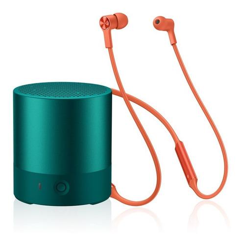huawei mini speaker - verde + audífonos freelace - naranja