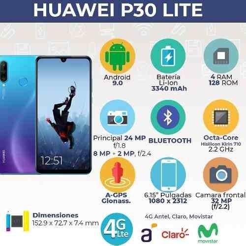 huawei p30 lite 128/4+ auric+ estuche+ smartwatch gtia 1 año