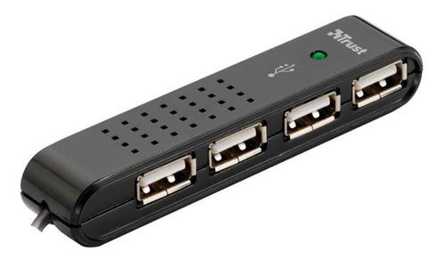 hub 4 puertos trust vecco 2.0 negro