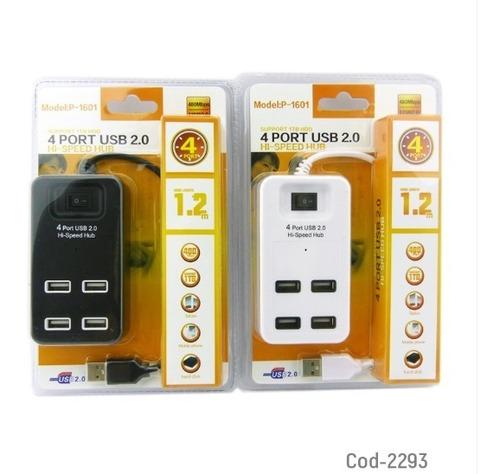 hub 4 puertos ubs 2.0, cable 120cm, mod-p1601, 2 colores. en