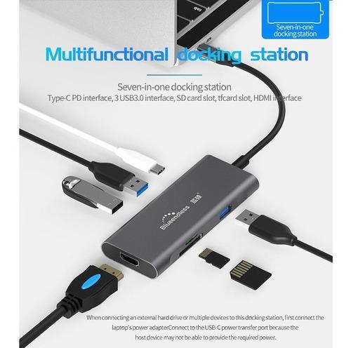 hub adaptador usb c 7 puertos - hdmi 4k, usb 3.0, usb c, sd