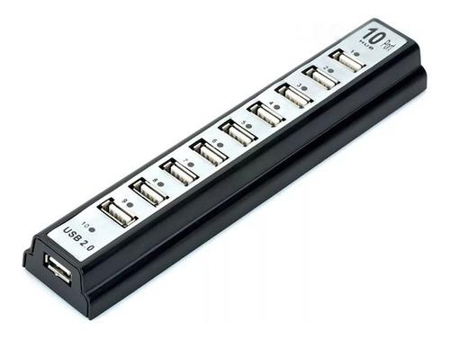 hub de 10 puertos usb 2.0 con adaptador de corriente