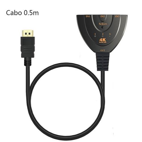 hub hdmi switch 3x1 adaptador cabo 4k 3 entradas e 1 saída