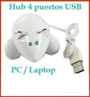 hub ratón blanco 4 puertos usb mini laptop pc mac galaxy lte