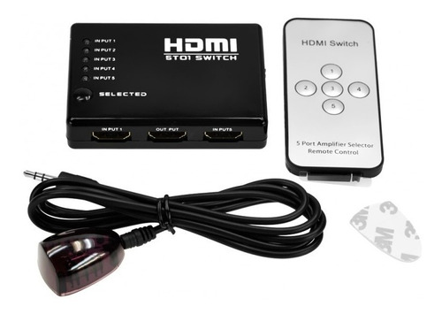 hub switch hdmi 5 portas full hd splitter + controle remoto