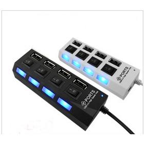 Hub Usb 2.0 4 Puertos Con Switch Led Laptop Pc Alta Velocida