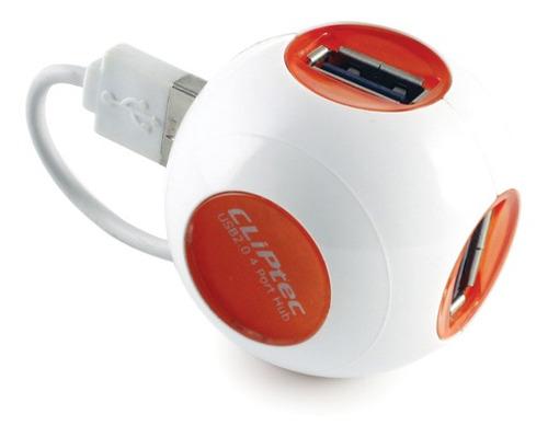 hub usb 2.0 4 puertos naranja cliptec 212 - tecsys