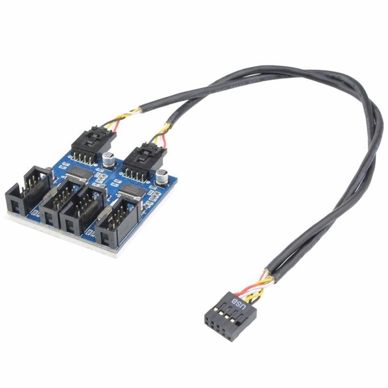 Hub Usb 2.0 Interno 9 Pinos Splitter Para 4 Conexões 30cm ...