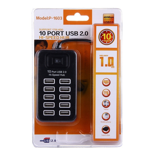 hub usb 2.0 to 10 ports high speed 480 mbps with blanco