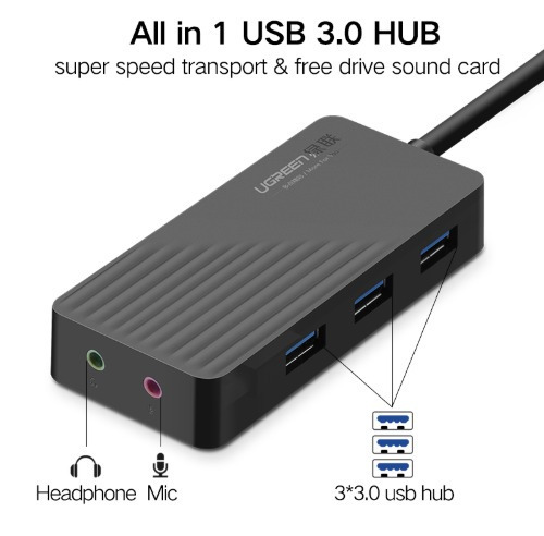 hub usb 3.0  3 portas com placa de som externo adaptador