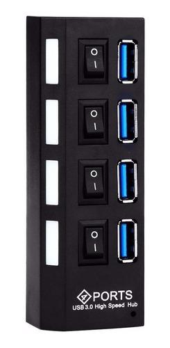 hub usb 3.0 4 portas com switch e led conexão hi-speed 1tb