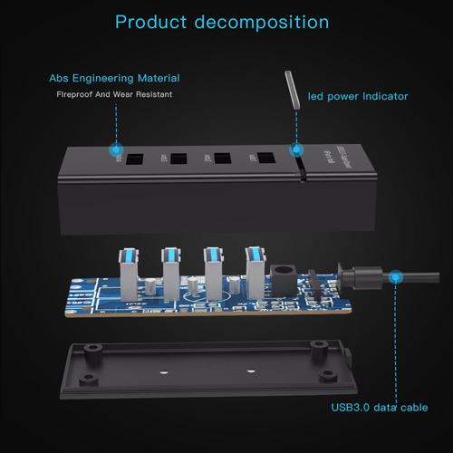 hub usb 3.0 4 puerto super velocidad 5gbps plug and blanco