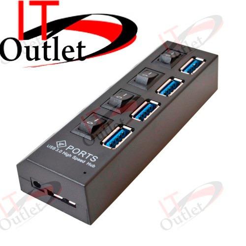 hub usb 3.0 de 4 puertos con botón on/off en cada uno