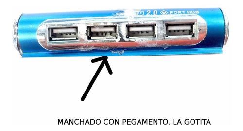 hub usb 4 port azul (reparado con pegamento) mn#7062