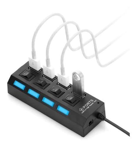 hub usb 4 puertos zapatilla multiplicador 2.0 interruptores