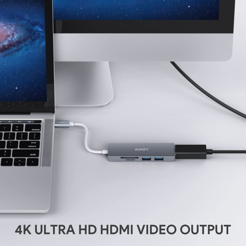 hub usb-c - 2 port usb 3.0 - hdmi 4k 30hz lector sd/microsd