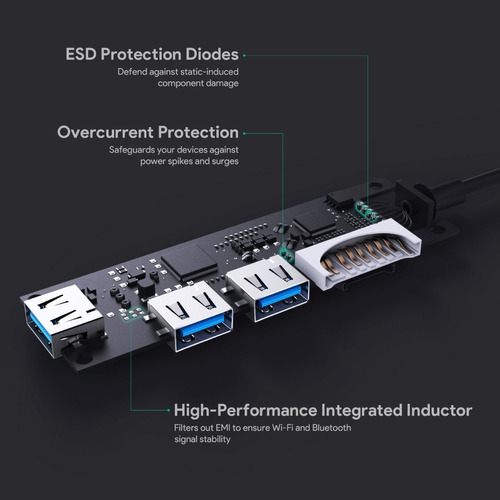 hub usb-c - 3 port usb 3.0 - pc/mac lector de memoria sd/msd