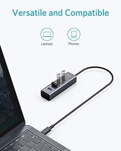 hub usb-c - anker - 4 port usb 3.0 - aluminio - pc/mac