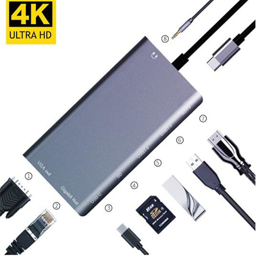 hub usb c multipuerto hdmi 4k / vga / 2x usb 3.0 / red / sd / 3.5mm audio / puerto de carga / 8 en 1