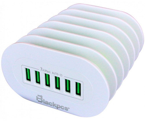 hub usb carga rapida 6ptos c/ranura p/cel blackpcs esho36-w