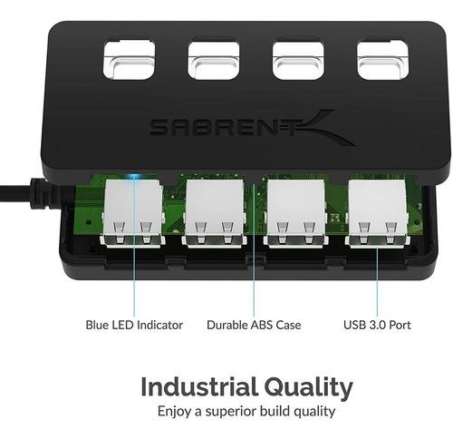 hub usb - sabrent - 4 port usb 3.0 - switch on/off - pc/mac