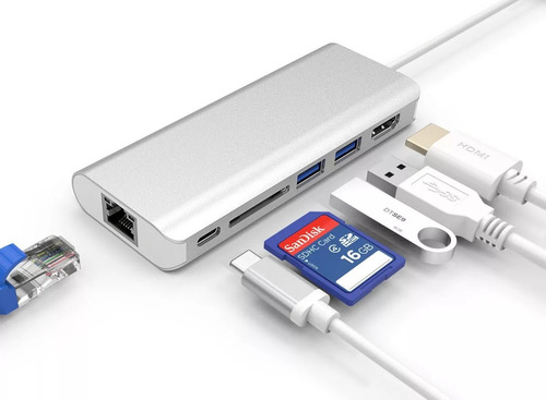 hub usb tipo c 3.1 hdmi sd gigabit ethernet + 2usb pd rj45