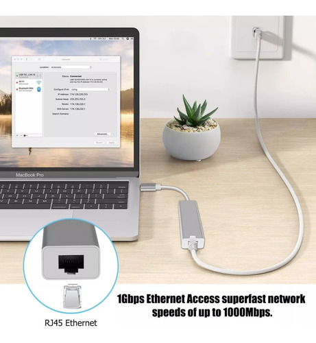 hub usb tipo c 3.1 multipuerto gigabit ethernet lan macbook
