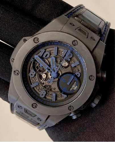 hublot big bang único 45mm all black / blue , s.limitada!!!