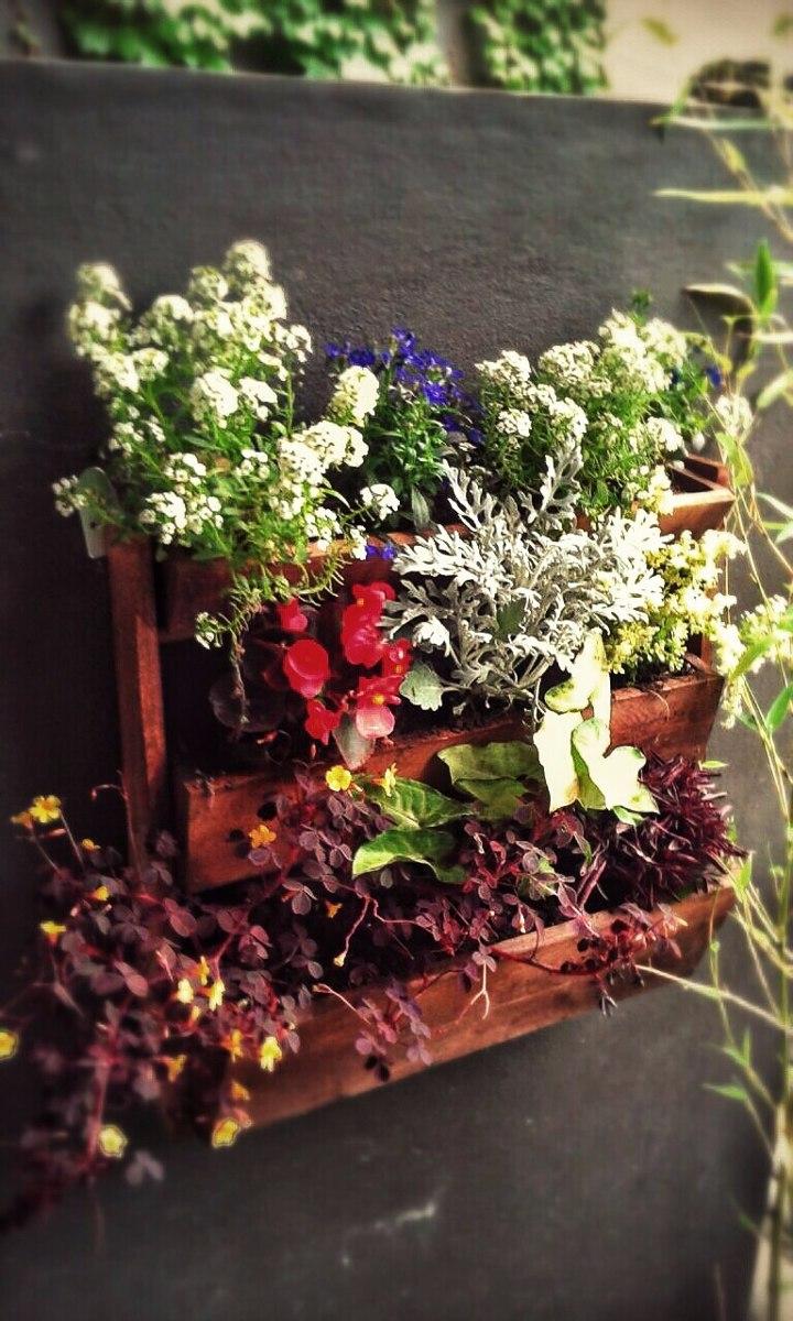 huerta colgante jardinera escalonada rustica de madera
