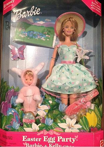 huevo pascua party barbie original y kelly regalo set + fun