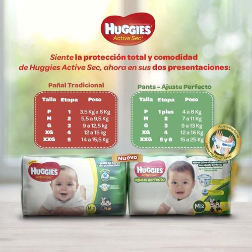 huggies active sec ajuste perfecto - unidad a $1052