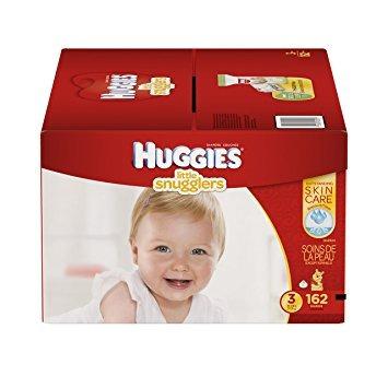 huggies little snugglers bebé pañales, tamaño 3, 162 count