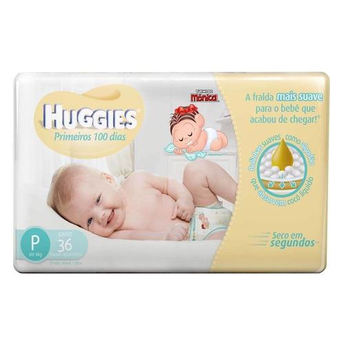 huggies primeiros 100 dias fralda infantil p c/36